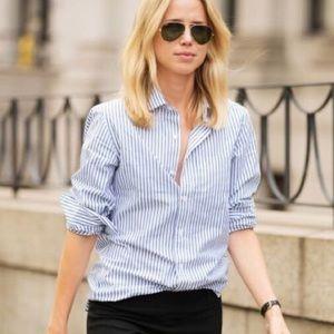 J. Crew white blue the perfect shirt button down